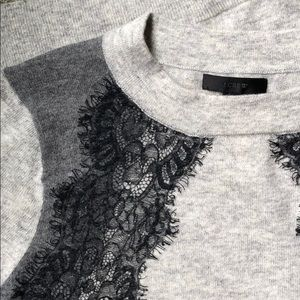 Grey jcrew sweater with lace detail